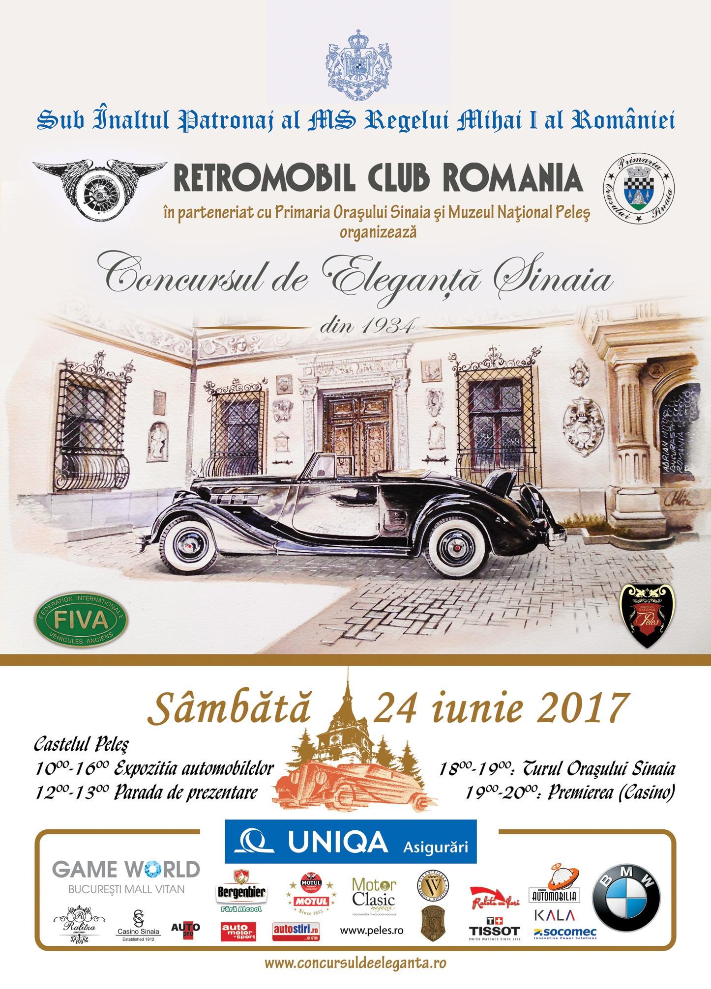 A VII-a ediție a Concursului de Eleganță Sinaia – 24 iunie 2017